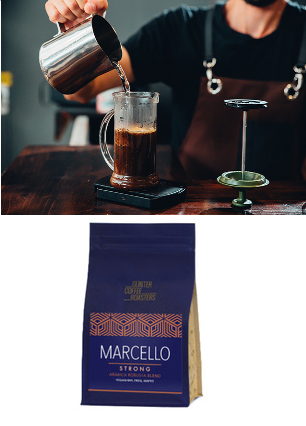 Kaffee Marcello Strong, gemahlen für French Press, von Günter Coffee Roasters Freiburg, 250g